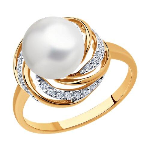 Кольцо из золота с бриллиантами и жемчугом (8010064) - фото