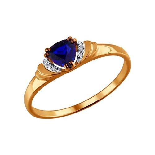 Кольцо из золота с бриллиантами и корундом сапфировым (синт.) (2011016) - фото