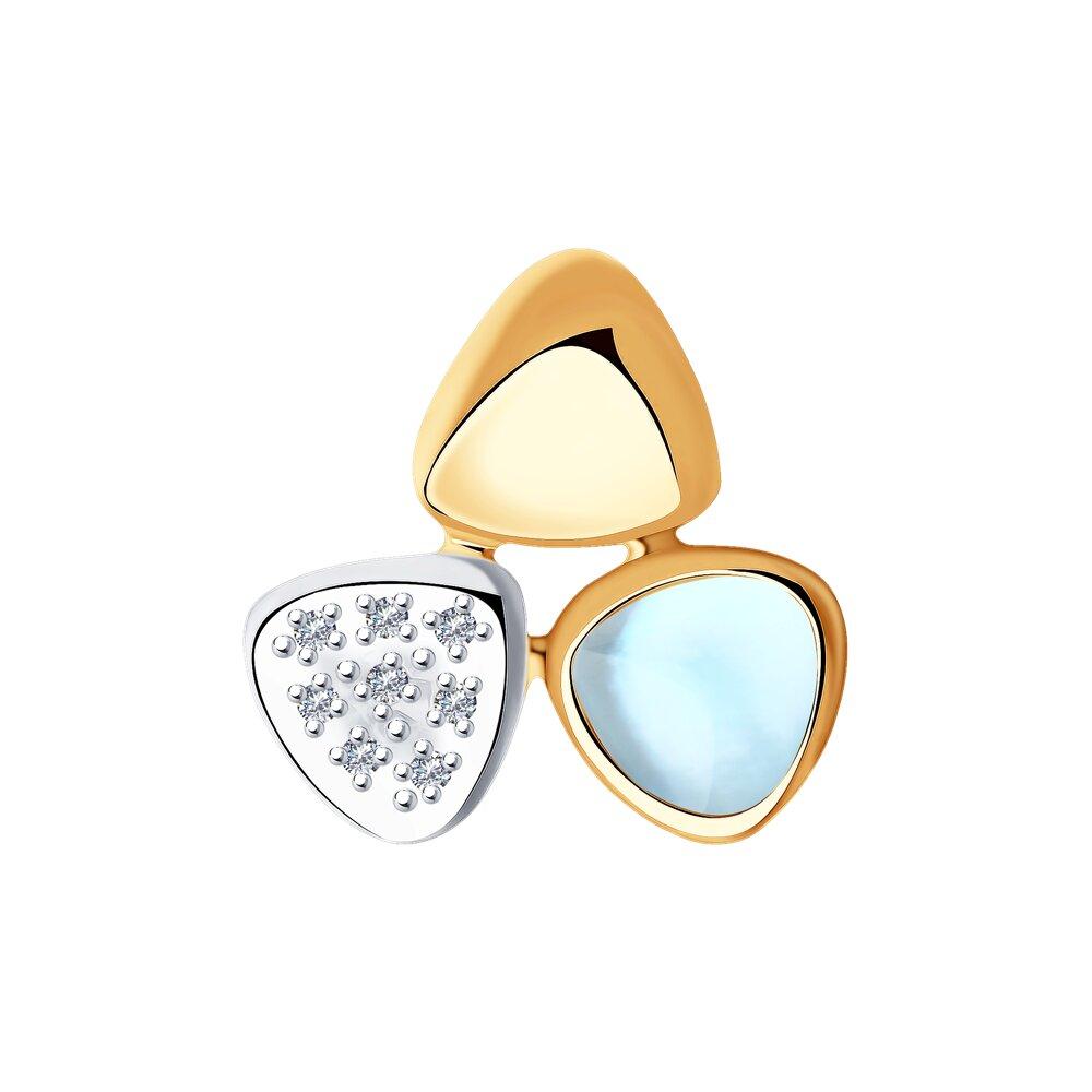 Подвеска SOKOLOV из золота с бриллиантами и дуплетом из топаза и перламутра