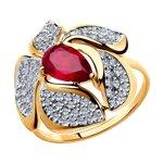 Кольцо из золота с корундом рубиновым и фианитами