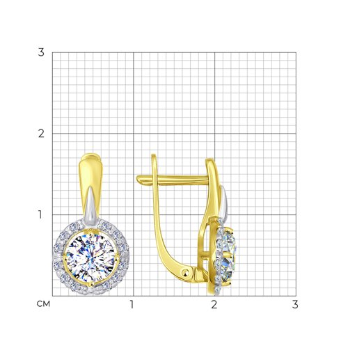 Серьги из желтого золота с фианитами (026931-2) - фото №2