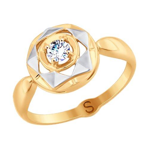 Кольцо из золота с фианитом (017703) - фото