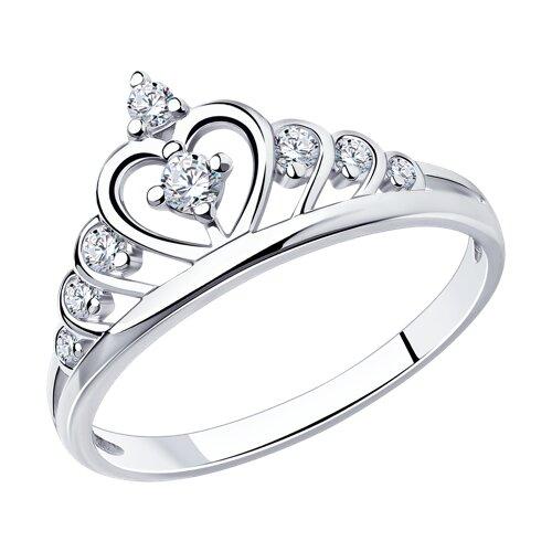 Кольцо из серебра с фианитами (94011483) - фото