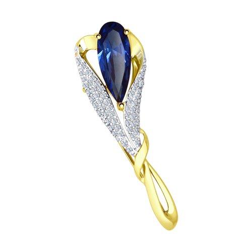 Брошь из желтого золота с синим корундом (синт.) и фианитами