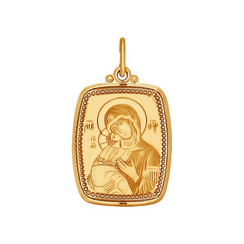 Иконка SOKOLOV из золота с ликом Божьей Матери Владимирской