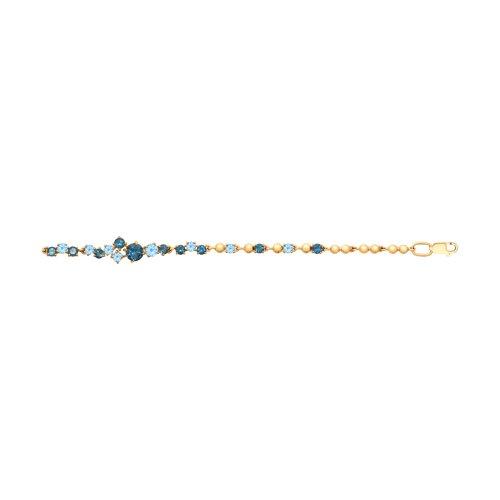 Браслет из золота с голубыми и синими топазами (750280) - фото