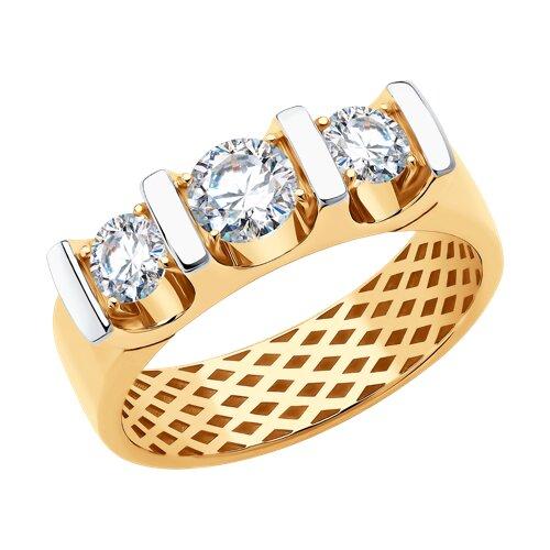 Кольцо из золота с фианитами (018376) - фото