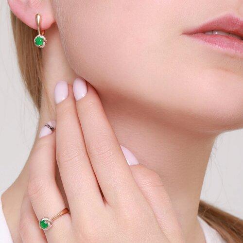 Кольцо из золота с бриллиантами и изумрудом (3010548) - фото №4