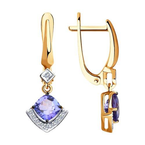 Серьги из золота с бриллиантами и танзанитами (6024131) - фото