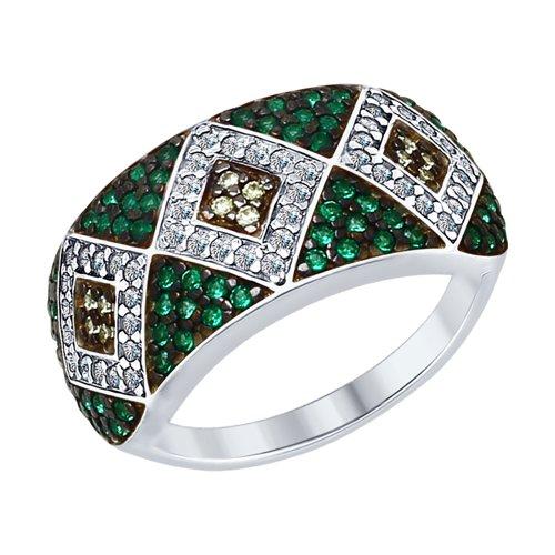 Кольцо из серебра с бесцветными, жёлтыми и зелеными фианитами (94012584) - фото