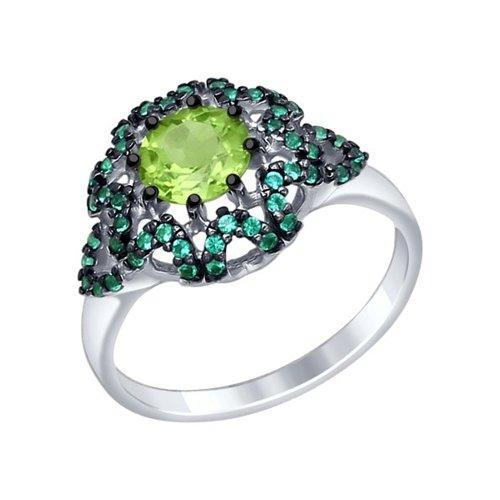 Кольцо из серебра с хризолитом и зелеными фианитами