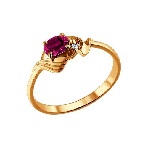 Кольцо SOKOLOV из золота с бриллиантом и рубином