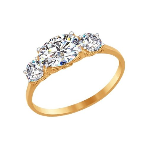 Кольцо из золота со Swarovski Zirconia (81010203) - фото