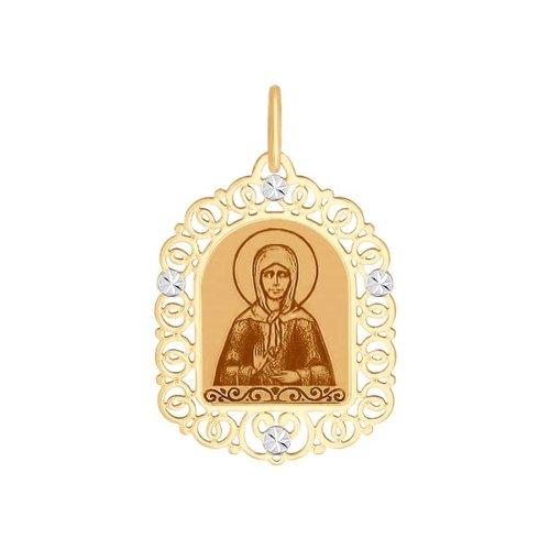 Золотая иконка «Святая блаженная Матрона Московская» SOKOLOV
