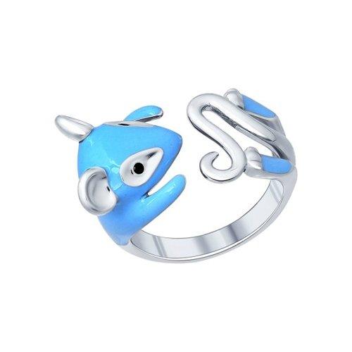 Кольцо в виде мыши из серебра
