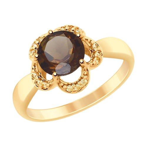 Кольцо из золочёного серебра с раухтопазом и фианитами (92011523) - фото