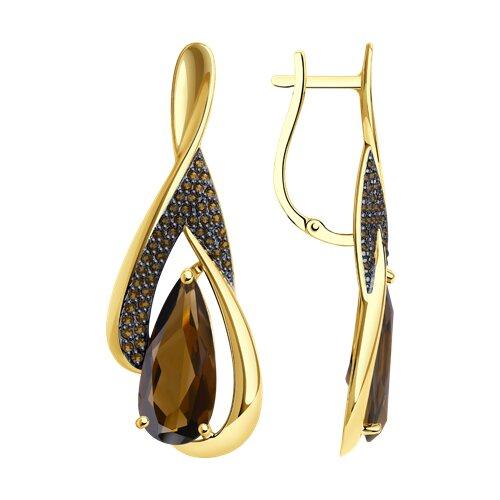 Серьги из желтого золота с раухтопазами и фианитами