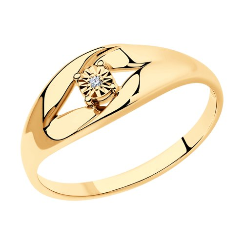Кольцо из золочёного серебра с бриллиантом (87010020) - фото