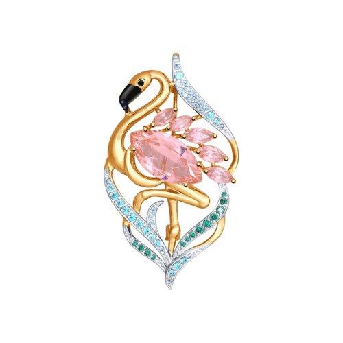 брошь фламинго Брошь SOKOLOV из золота с ситаллами и фианитами «Фламинго»