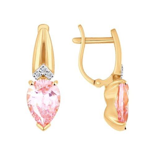 цена на Серьги SOKOLOV из золота с розовыми фианитами
