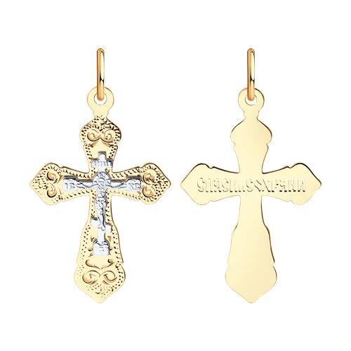 Крест из комбинированного золота с гравировкой (121222) - фото