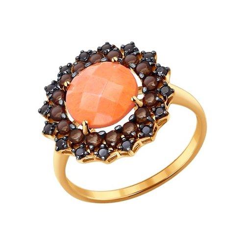 Кольцо SOKOLOV из золота с кораллом и раухтопазами кольцо из золота с раухтопазами