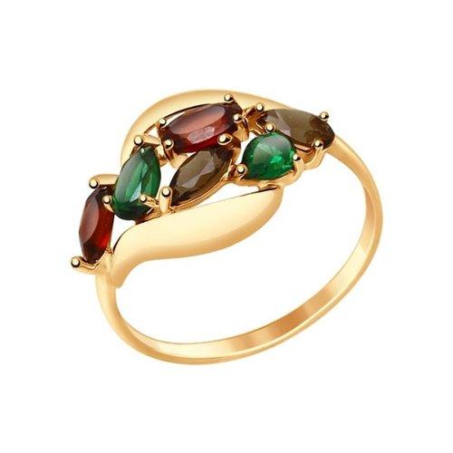 Кольцо из золота с полудрагоценными вставками (714690) - фото