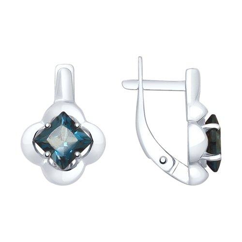 Серьги из серебра с синими топазами (92021947) - фото