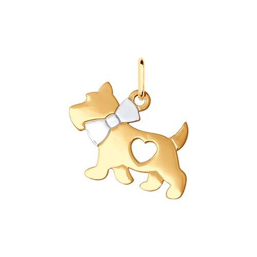 Подвеска «Собачка» из золочёного серебра (93030348) - фото