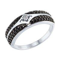 Кольцо из серебра с бесцветным и чёрными фианитами