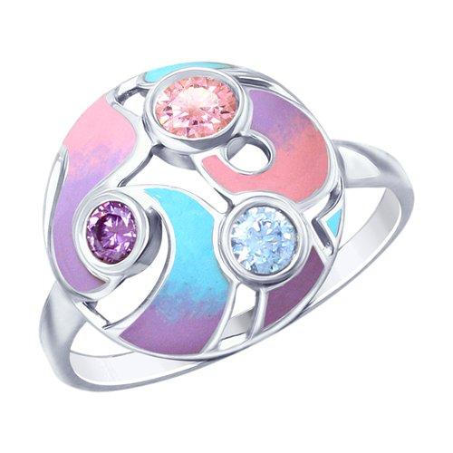 Кольцо из серебра с эмалью и фианитами (94012796) - фото
