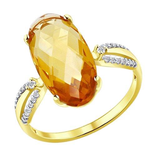Кольцо из желтого золота с цитрином и фианитами (51714040) - фото
