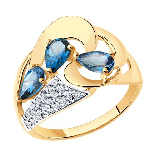 Кольцо из золота с синими топазами и фианитами (714805) - фото