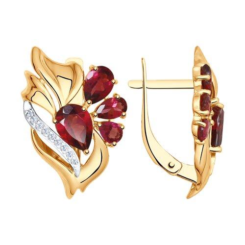Серьги из золота с родолитами и фианитами