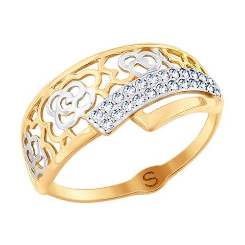 Кольцо из золота с фианитами (017790) - фото