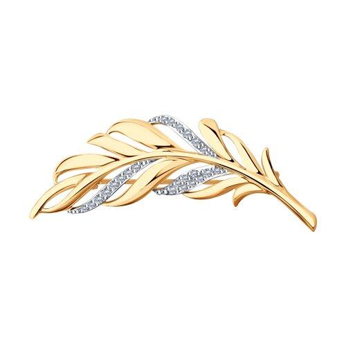 Брошь из золота с фианитами 040179 sokolov фото