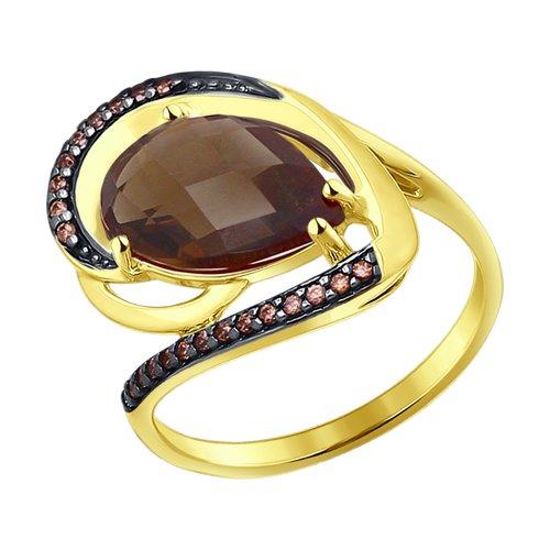 Кольцо из желтого золота с раухтопазом и фианитами (714198-2) - фото