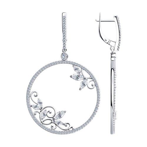 Серьги из серебра с фианитами (94023630) - фото