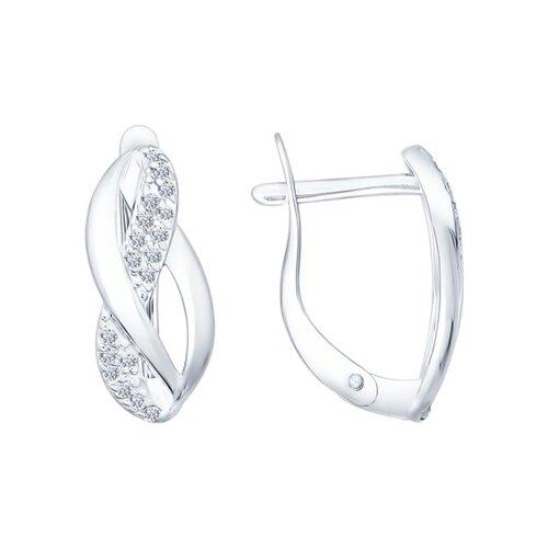 Серьги из серебра с фианитами (94021839) - фото