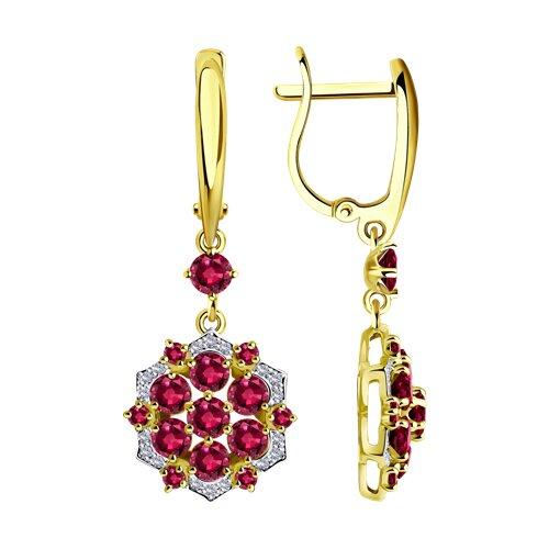 цена на Серьги SOKOLOV из желтого золота с бриллиантами и рубинами