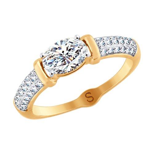 Кольцо из золота со Swarovski Zirconia (81010412) - фото