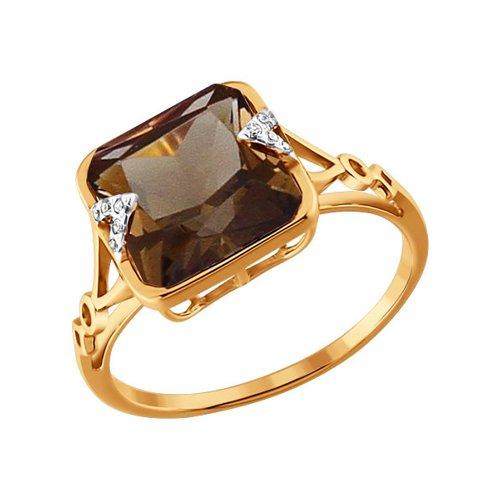 Золотое кольцо с крупным c раухтопазом SOKOLOV золотое кольцо ювелирное изделие 01k684711ul