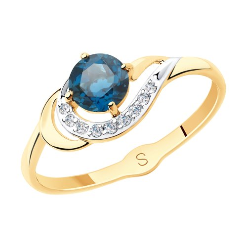 Кольцо из золота с синим топазом и фианитами (715562) - фото