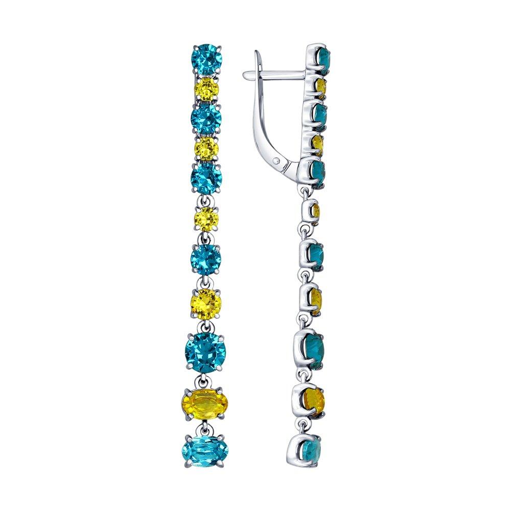 Длинные серебряные серьги с кристаллами Swarovski SOKOLOV серебряные серьги с чёрными кристаллами swarovski