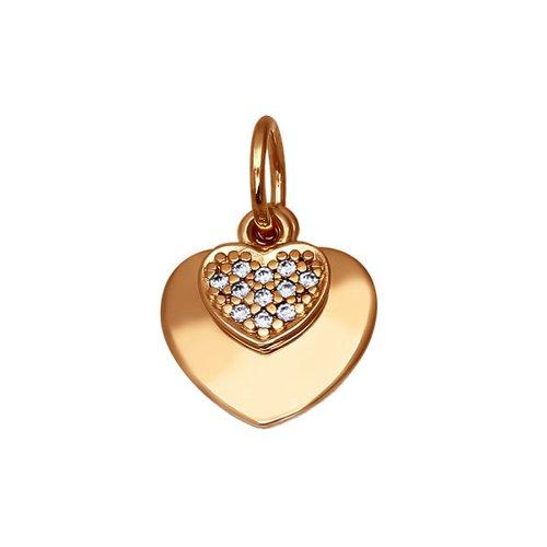 Подвеска в форме сердца украшенного фианитами