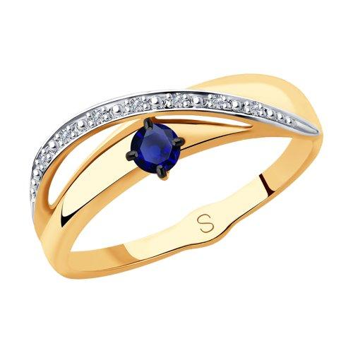 Кольцо из золота с бриллиантами и сапфиром (2011123) - фото