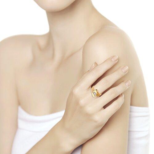 Кольцо из золота с фианитом (018471) - фото №2