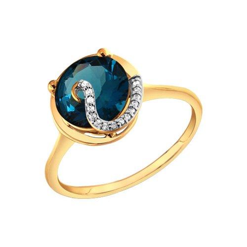 цена Золотое кольцо с синим топазом SOKOLOV онлайн в 2017 году