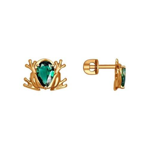 Серьги-пусеты «Лягушки» из золота