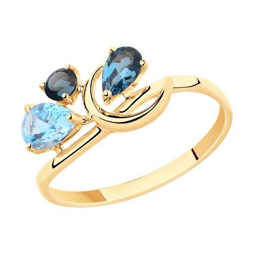 Кольцо из золота с голубым и синими топазами (715406) - фото